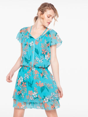 Robe imprime floral detail lacage vert turquoise femme