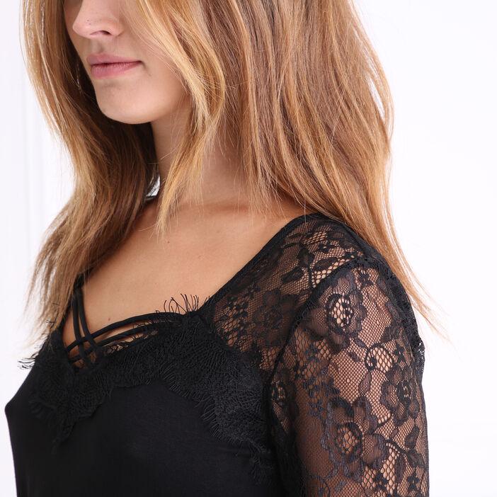 T-shirt en maille et dentelle noir femme