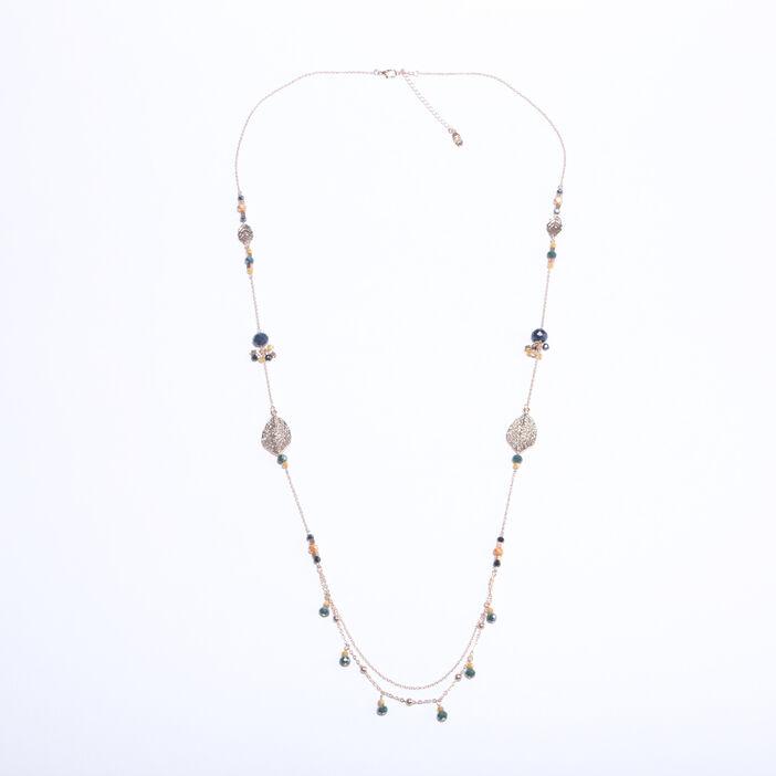 Sautoir perles et pierres couleur or femme