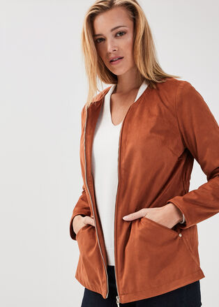 Veste droite zippee suedine marron cognac femme