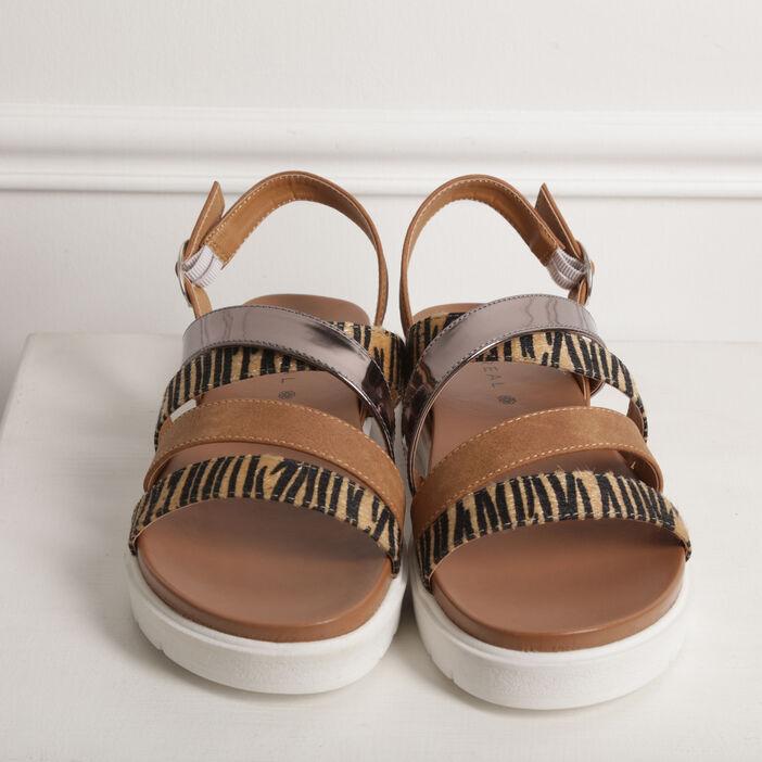 Sandales plates multi-brides camel femme