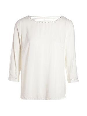 Chemise imprimee avec detail blanc femme