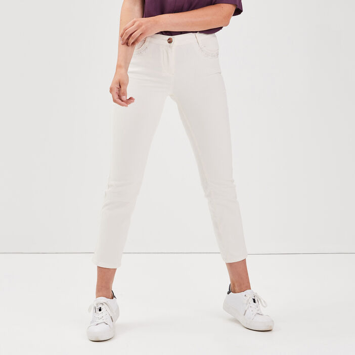 Pantalon droit taille haute creme femme