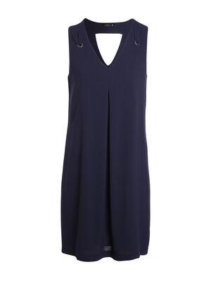 Robe courte fluide unie decoupe dos bleu femme