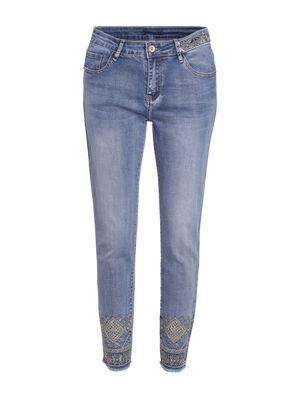 Pantalon ajuste details bas de jambes denim double stone femme