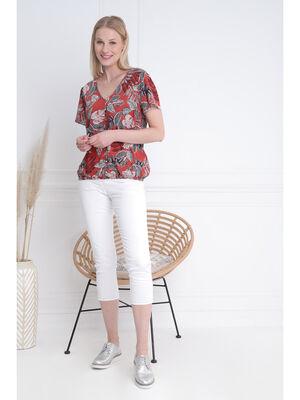 Pantacourt ajuste taille haute blanc femme