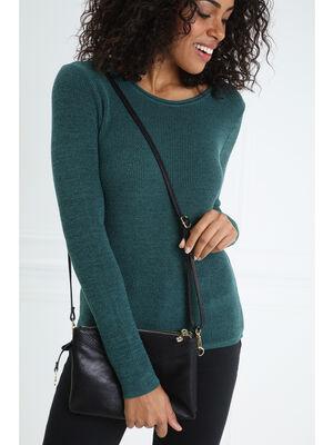 Sac pochette double zip noir femme