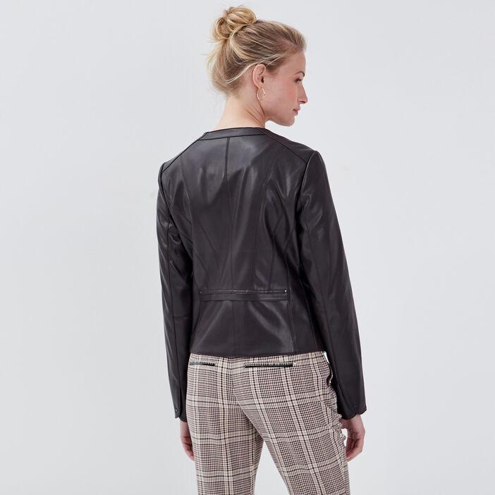 Veste cintrée zippée marron femme