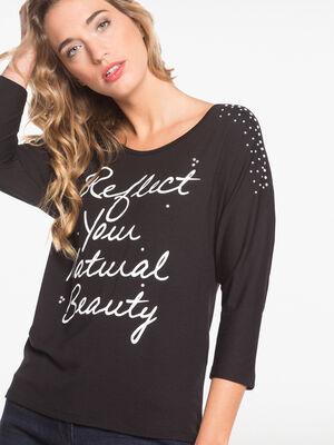 T shirt manches 34 epaules en voile noir femme
