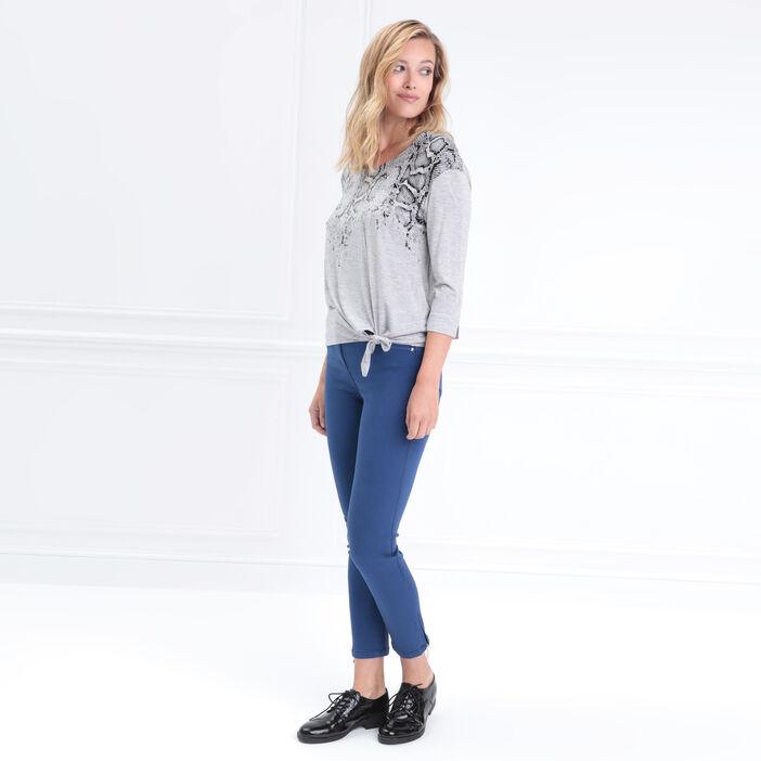 T-shirt manches 3/4 noué gris clair femme
