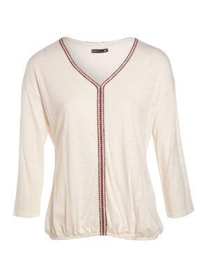 T shirt manche 34 creme femme