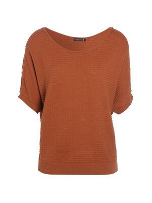 Pull col rond orange fonce femme
