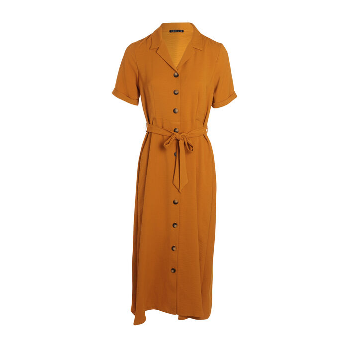 Robe chemise longue à ceinture jaune moutarde femme