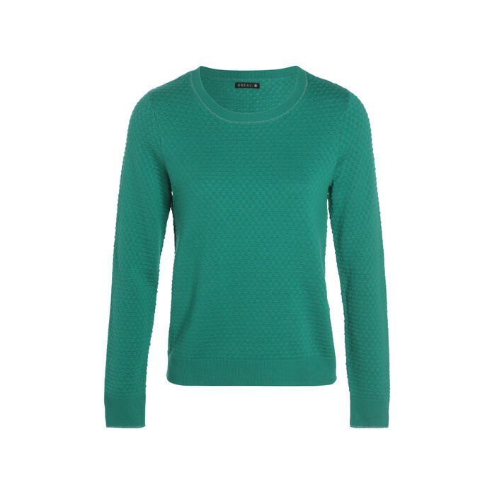 Pull manches longues col rond vert menthe femme