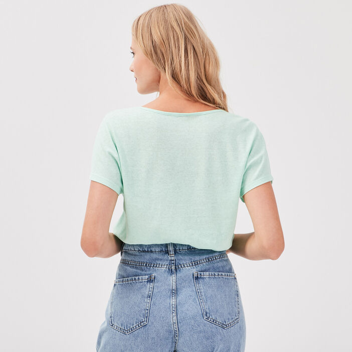T-shirt manches courtes vert pastel femme