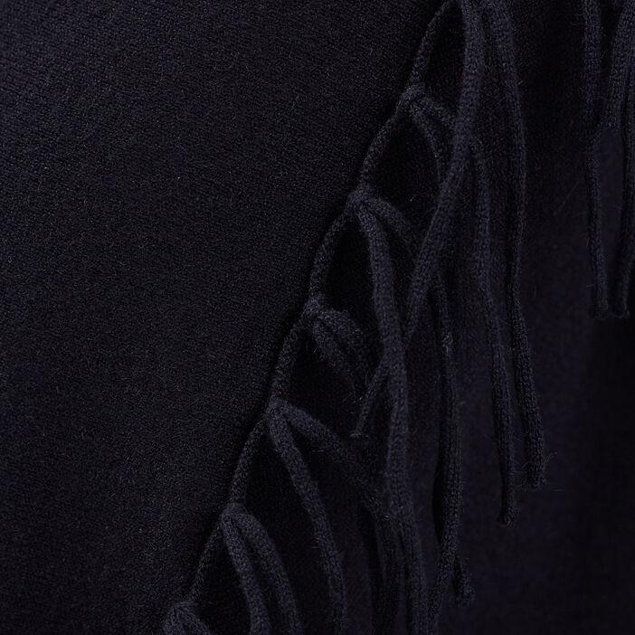 Gilet manches longues franges bleu foncé femme