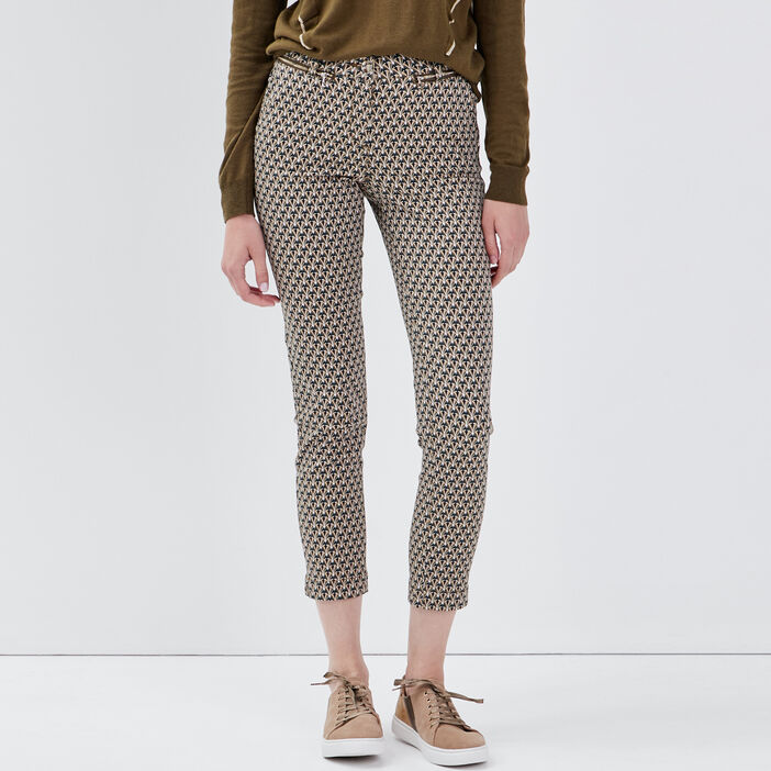 Pantalon ajusté détails zippés vert olive femme
