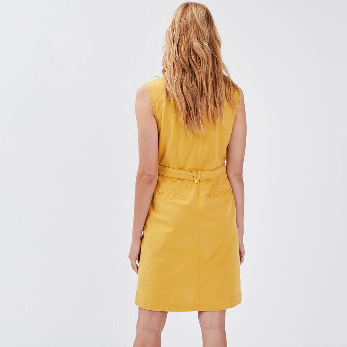 Robe droite ceinturée jaune moutarde femme