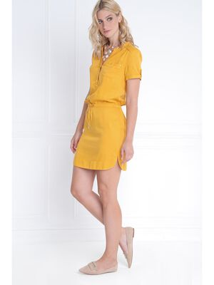Robe lyocell coulisse taille jaune or femme