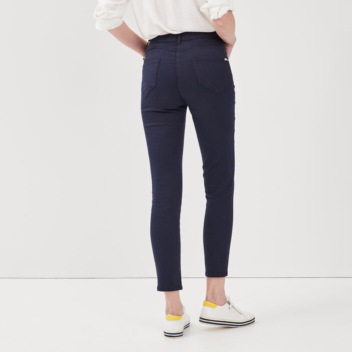 Pantalon léger toucher doux bleu marine femme