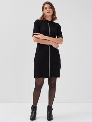 Robe pull droite noir femme
