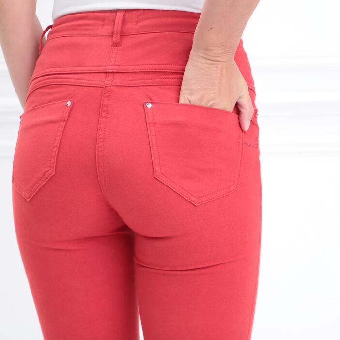 Pantalon magique sculptant uni rouge femme