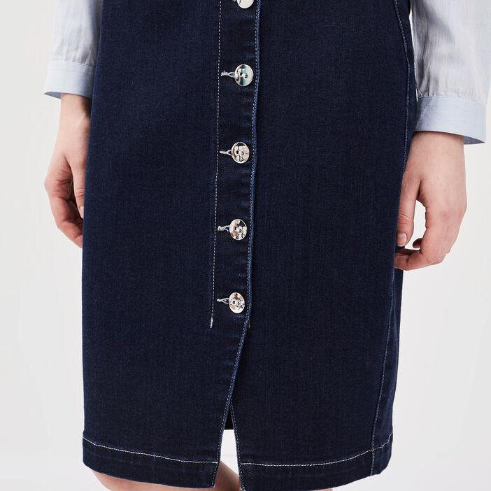 Jupe droite boutonnée en jean denim brut femme