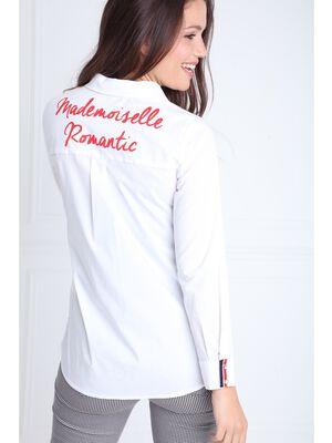 Chemise col francais et liseres colores ecru femme