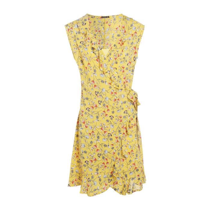 Robe portefeuille à volants jaune femme