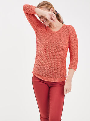 Pull manches 34 ajoure irise rose corail femme