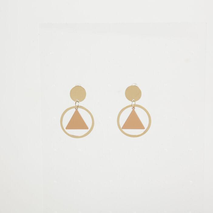 Boucles d'oreille géométriques couleur or femme