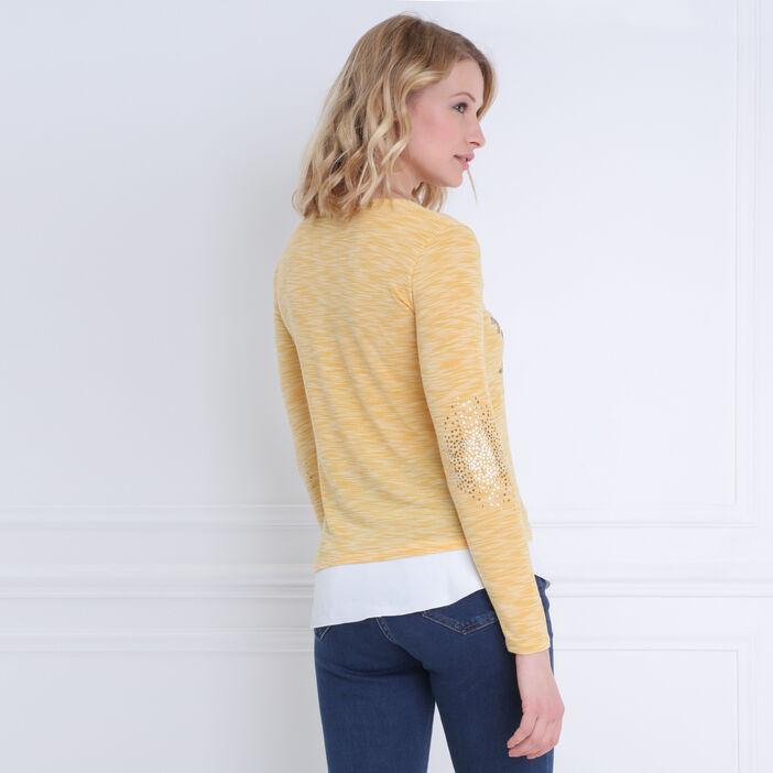 T-shirt manches longues 2-en-1 jaune or femme