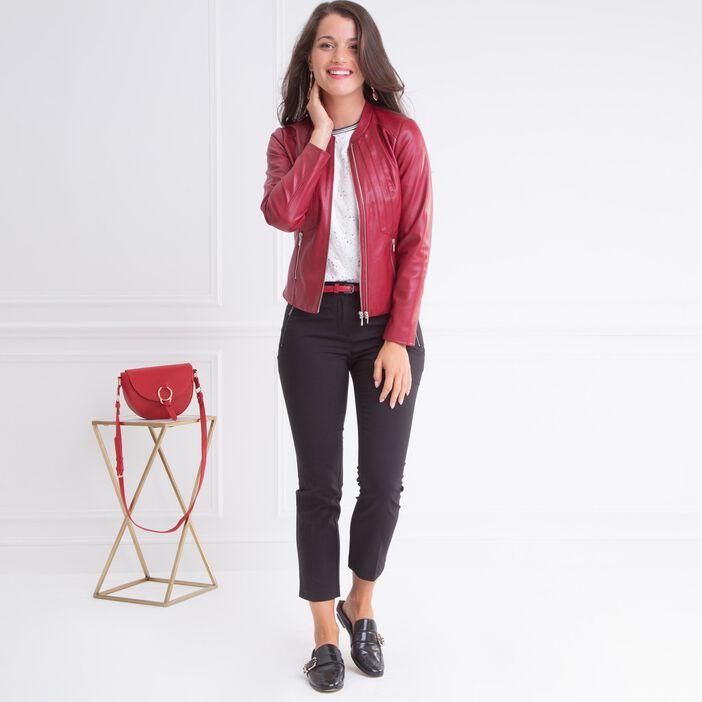 Veste ajustée façon cuir coutures rouge femme