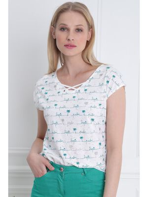 T shirt manches courtes lacage ecru femme