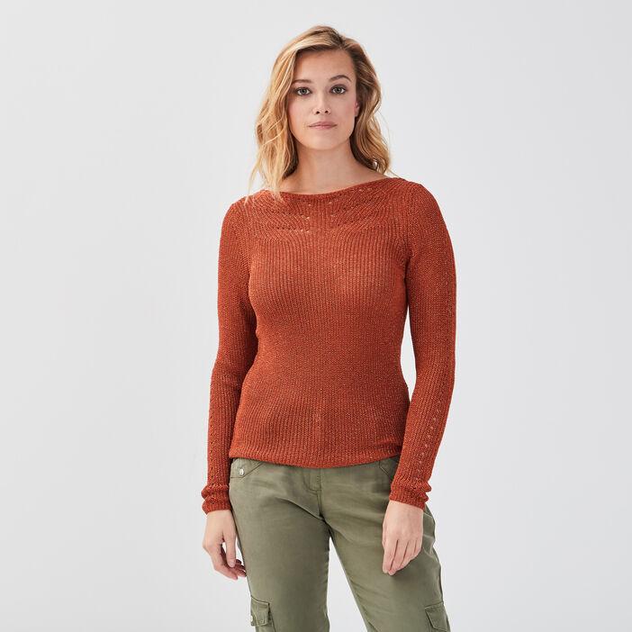 Pull manches longues orange foncé femme