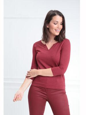 T shirt manches 34 dentelle rouge fonce femme