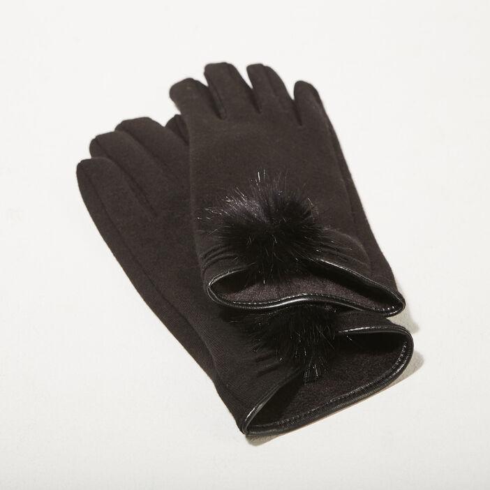 Gants avec pompons noir femme