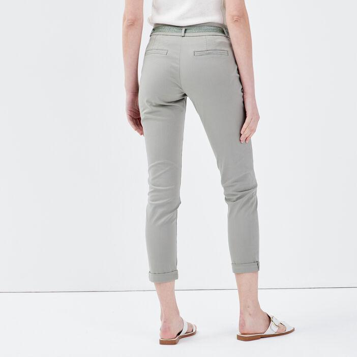 Pantalon chino ajusté ceinturé vert clair femme