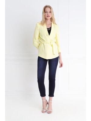 Veste fluide ceinturee jaune pastel femme
