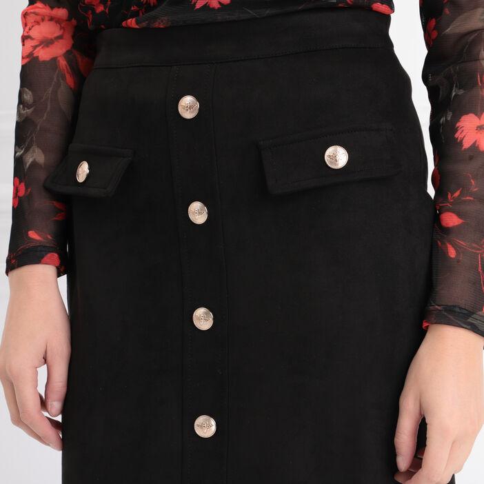 Jupe ajustée avec boutons noir femme