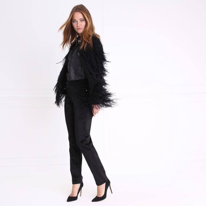 Pantalon taille standard ajusté velours noir femme