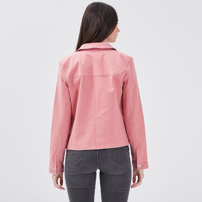 Veste droite en jean vieux rose femme