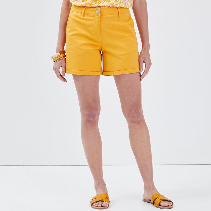 Short droit taille haute jaune or femme