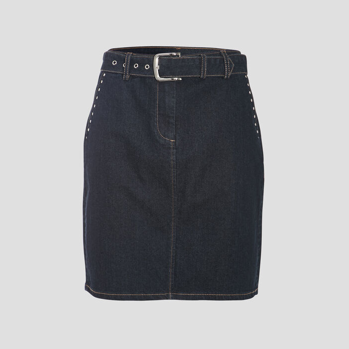 Jupe droite ceinturée en jean denim brut femme