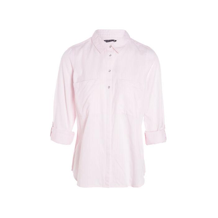 Chemise manches longues coton rose poudrée femme
