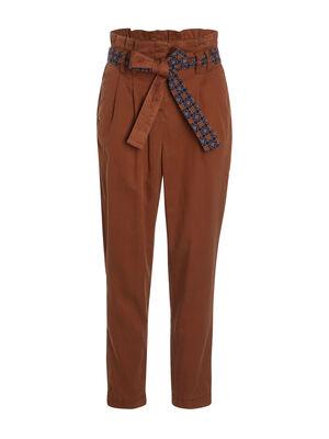 Pantalon taille haute ceinture marron femme