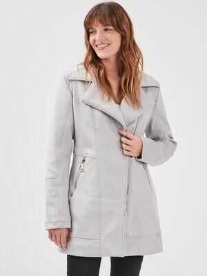 Manteau droit effet suedine gris fonce femme