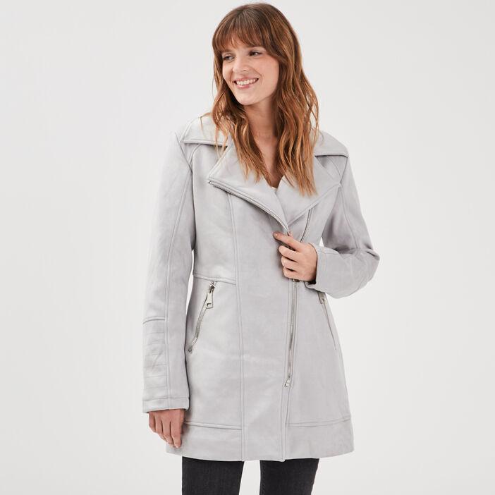 Manteau droit effet suédine gris foncé femme