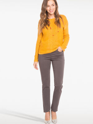 Pantalon ajuste taille haute gris fonce femme