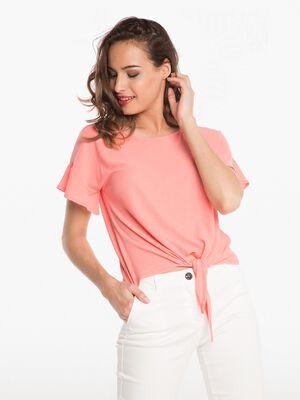 T shirt leger a nouer devant orange corail femme